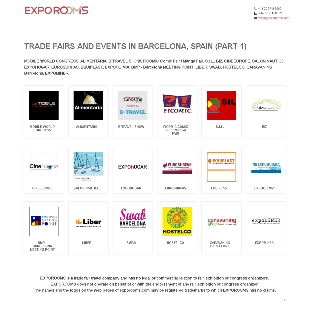 Trade Fairs and Events in Barcelona, Spain (part 1)