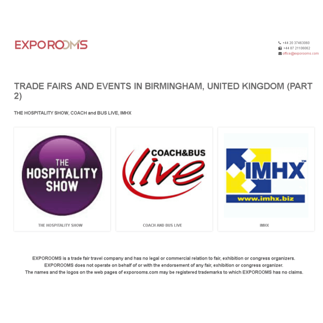 Trade Fairs and Events in Birmingham, United Kingdom (part 2)