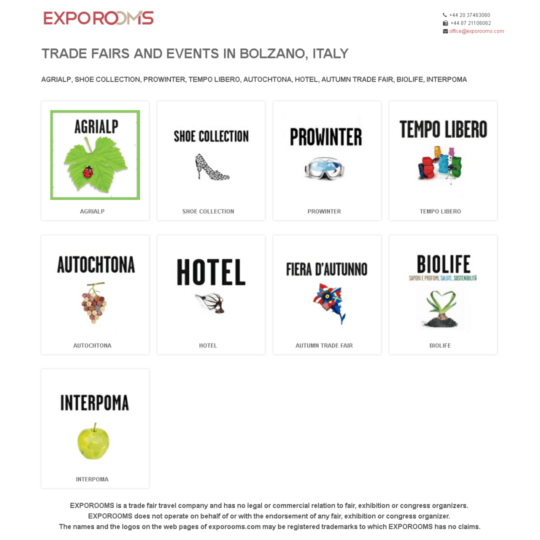 Trade Fairs and Events in Bolzano, Italy