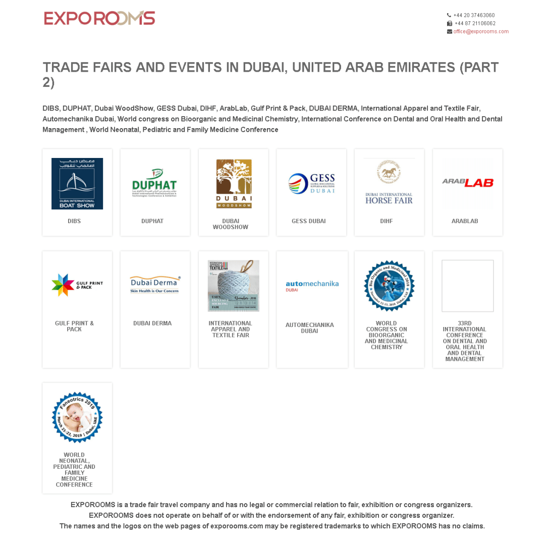 Trade Fairs and Events in Dubai, United Arab Emirates (part 2)