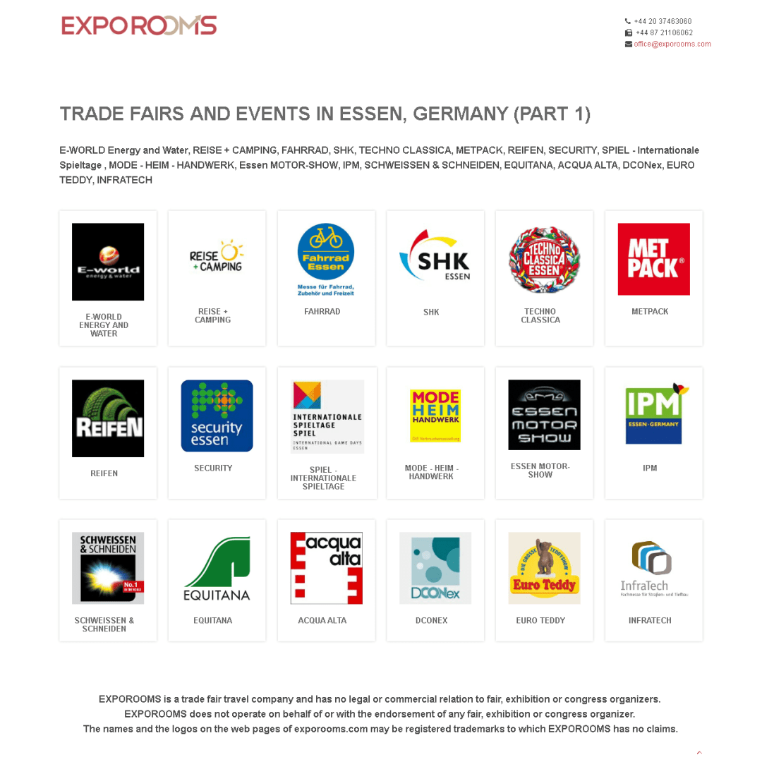 Trade Fairs and Events in Essen, Germany (part 1)
