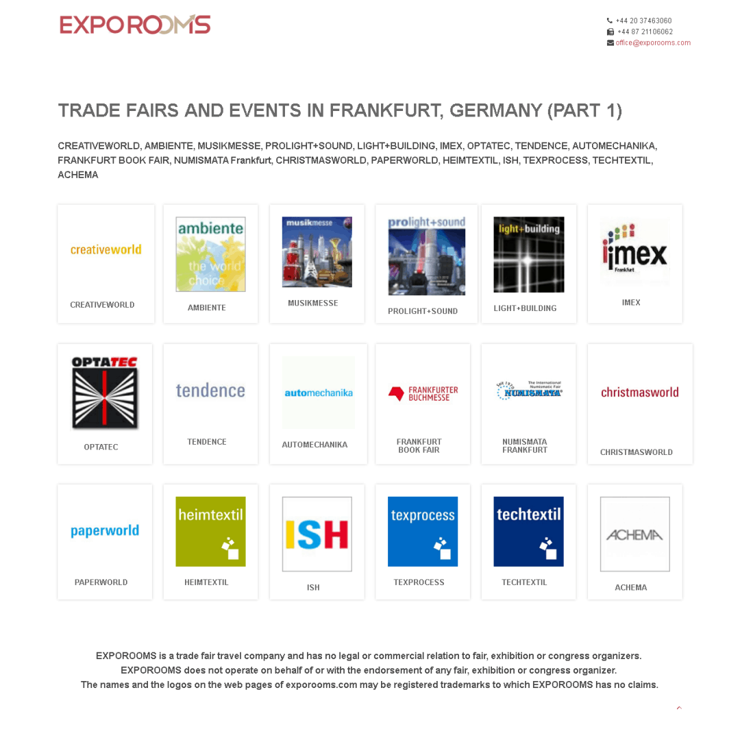 Trade Fairs and Events in Frankfurt, Germany (part 1)