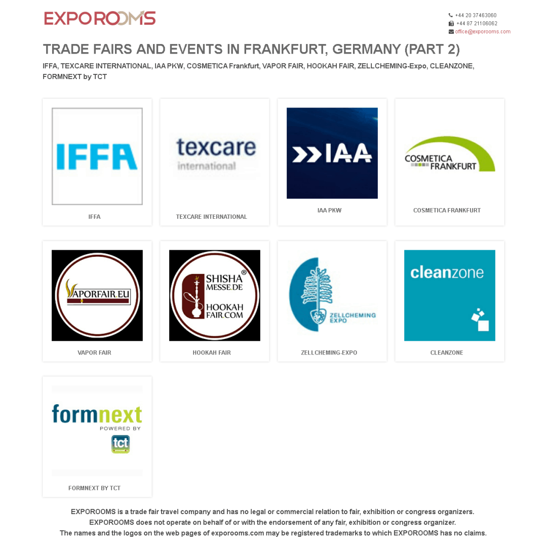 Trade Fairs and Events in Frankfurt, Germany (part 2)