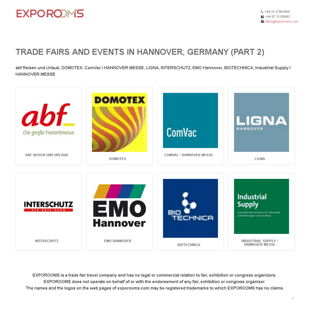 Trade Fairs and Events in Hannover, Germany (part 2)