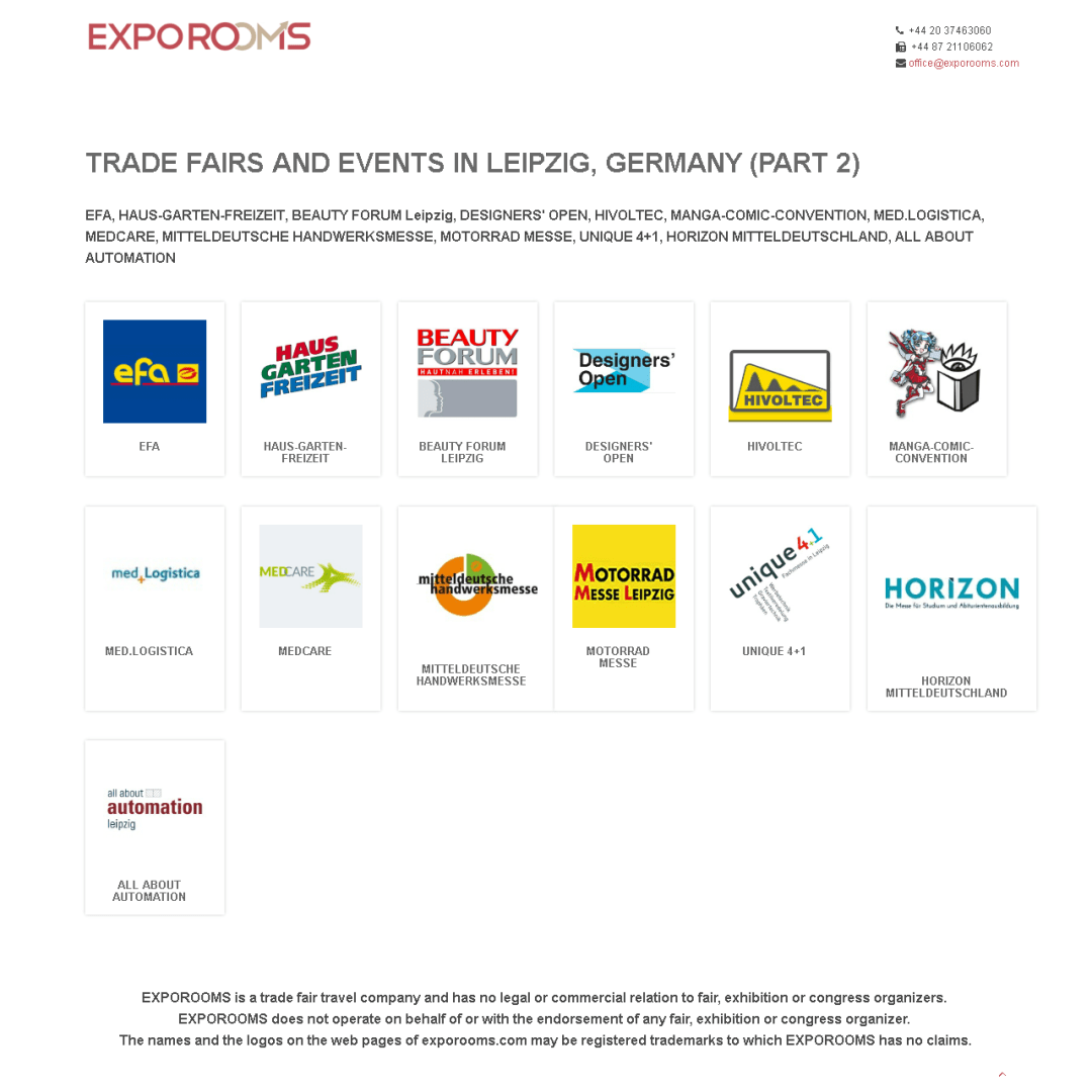 Trade Fairs and Events in Leipzig, Germany (part 2)