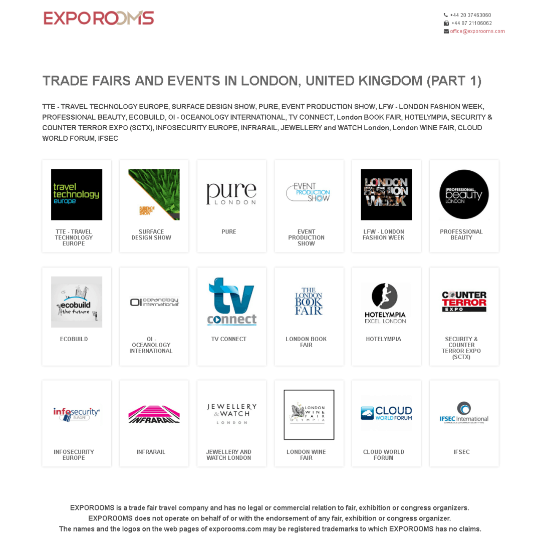 Trade Fairs and Events in London, United Kingdom (part 1)