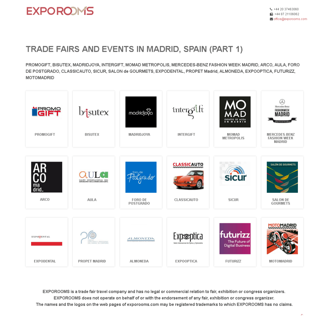 Trade Fairs and Events in Madrid, Spain (part 1)
