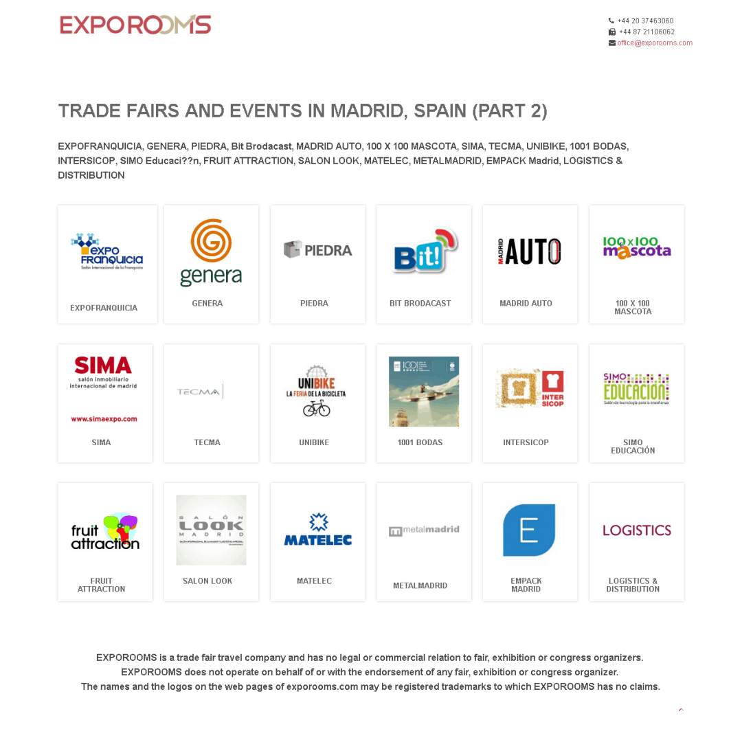 Trade Fairs and Events in Madrid, Spain (part 2)