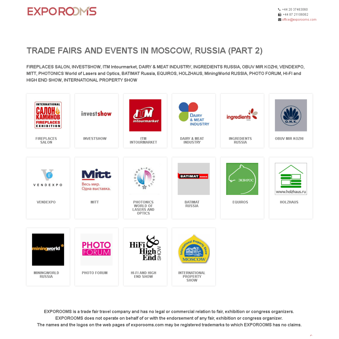 Trade Fairs and Events in Moscow, Russia (part 2)