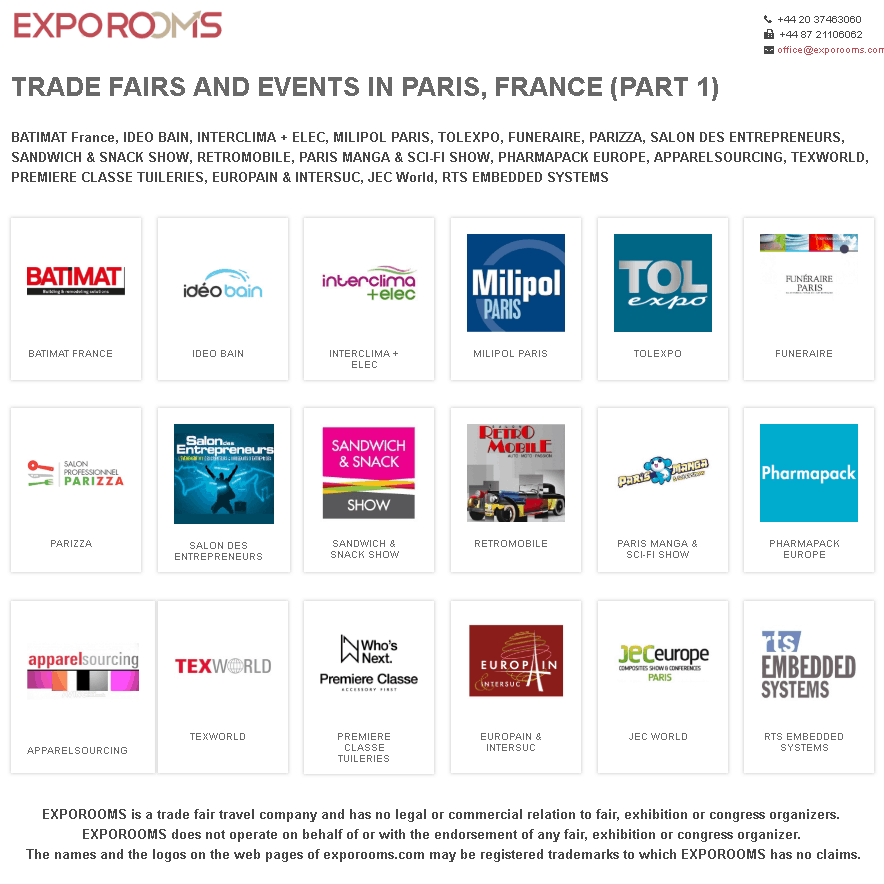Trade Fairs and Events in Paris, France (part 1)