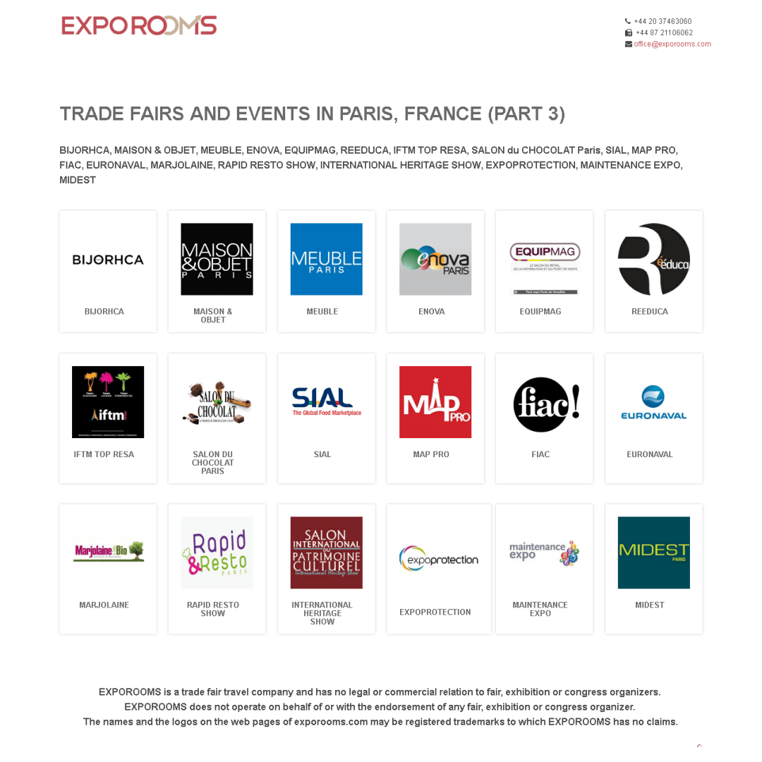 Trade Fairs and Events in Paris, France (part 3)