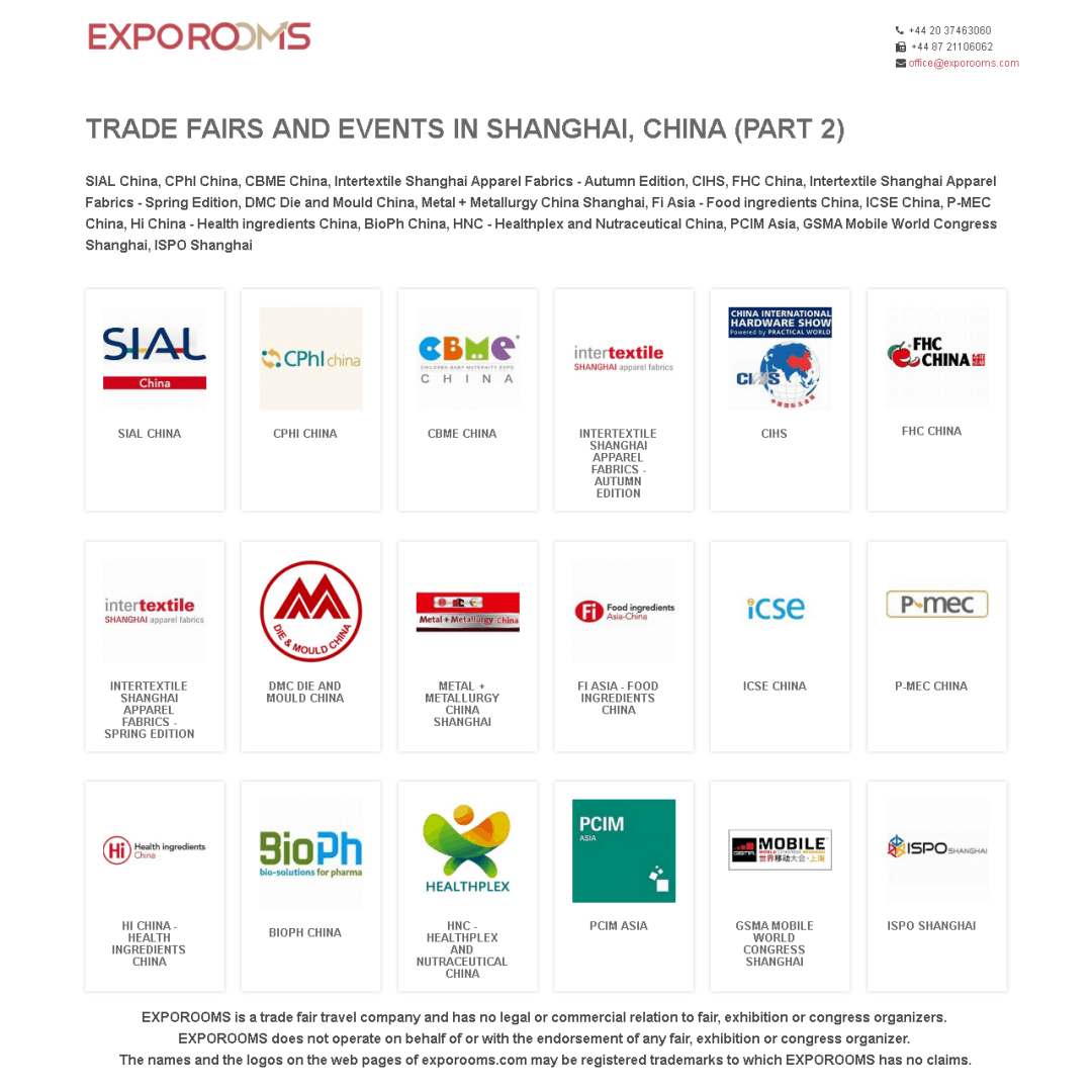 Trade Fairs and Events in Shanghai, China (part 2)