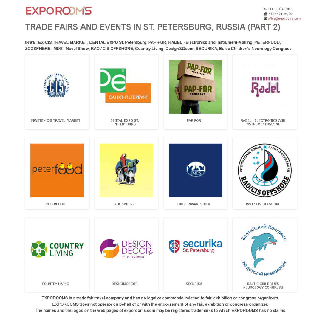 Trade Fairs and Events in St. Petersburg, Russia (part 2)