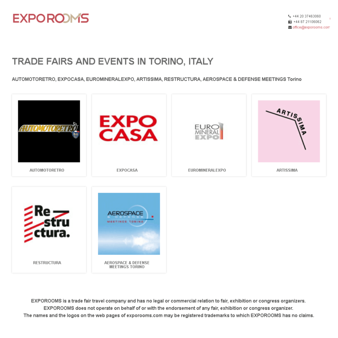 Trade Fairs and Events in Torino, Italy