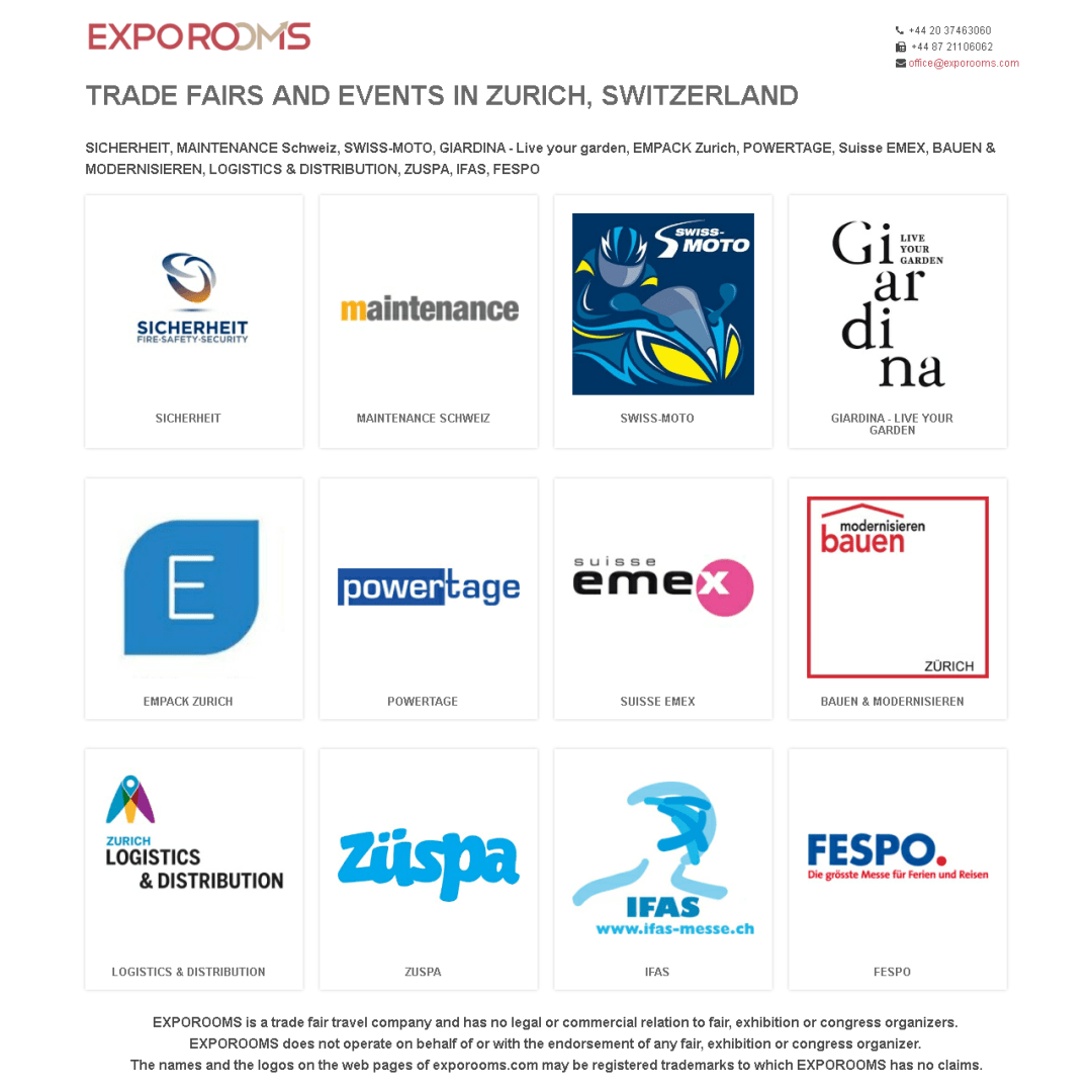 Trade Fairs and Events in Zurich, Switzerland